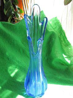 Italy Murano art glass Vase Blue Vintage Italien #Murano
