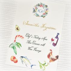 great vancouver wedding Another super fun piece for the couple. I did illustrations to hint at what guests will be eating during the custom three course chef's menu. The menu also served as a place card with gold calligraphy. Notice how the custom crest have changed? The inside is now filled with the couple's monogram after the ceremony instead of the wedding date. by @lovebyphoebe  #vancouverwedding #vancouverweddingstationery #vancouverwedding
