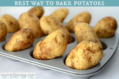 When baking potatoes, pierce with a fork, rub with olive oil, and sprinkle with a course salt…THEN…place them in a muffin pan for easy transfer in and out of the oven.  Oh my goodness…I love this tip!