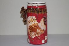 Rooster Handpainted Storage Jar....Clamp by CraftsByJoyice on Etsy, $24.95