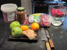 Fermented cranberry ginger relish/salsa - with apples and oranges