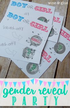 A perfect idea for a gender reveal party!  Complete with scratch offs, excitement, and one lucky guest announcing the big news!