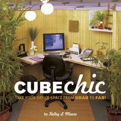 """$12.28 Absolutely brilliant! Behind all this is one of those ugly grey cubicles that is, somehow, supposed to make your work day better ... I just wonder how depressed the person who invented grey cubicles is.   Anyway, the book is """"Cube Chic"""" by Kelley L. Moore, found at www.Fab.com"""