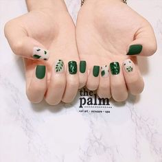 The Most Popular Nail Shapes – NaiLovely Green Nail Art, Green Nails, Green Nail Designs, Nail Art Designs, Nail Manicure, Toe Nails, Manicure Ideas, Nail Tips, Nails Now