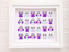Owl baby present  Purple owl baby shower gift  by Polkadotcorner22