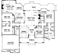 Floor Plans AFLFPW05235 - 1 Story French Country Home with 4 Bedrooms, 3 Bathrooms and 2,818 total Square Feet