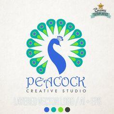 Peacock Vector Logo Hand Drawn Logo Logo by TopBusinessTemplates