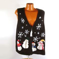 Ugly Christmas Sweater Vintage Cardigan Vest 2X Snowmen Tacky Holiday