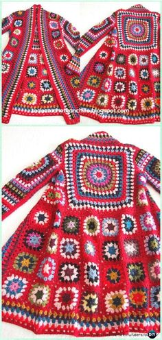 Crochet BOHO Granny Square Patchwork Jacket Free Pattern -