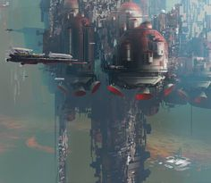 Flying cities, Paul Chadeisson on ArtStation at https://www.artstation.com/artwork/flying-cities