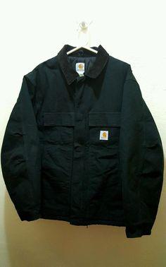 Carhartt Men's Jacket XXL 2XL 48 Tall  Black Full Zip Lined Work Coat Black Warm #Carhartt #WorkCoat
