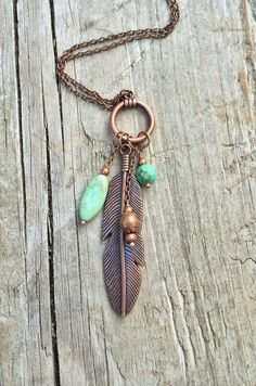 Long Boho Necklace Antiqued Copper Feather and Turquoise