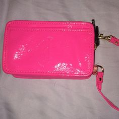 Juicy couture wristlet Neon pink juicy wristlet with two compartments like new Euc Juicy Couture Bags Clutches & Wristlets