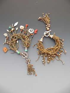 Bracelets of Antique French micro brass beads, and assorted beads, perls, stones, silver...  LuciaAntonelli.com