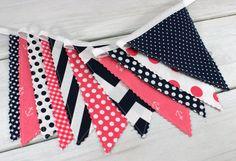 Banner Bunting, Photo Prop, Fabric Flags, Nautical Nursery Decor - Pink, Navy Blue, Anchors, Dark Blue, Chevron Dots - Ready to Ship