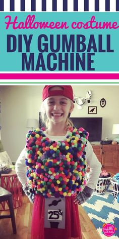 Looking for a DIY Halloween costume to make with your kids? This DIY Gumball Machine costume could not be easier to make (and it's cheap to make too!) Whether you make it for your toddler, your tween, your teen (or even yourself), have fun with this gumba Gumball Machine Halloween Costume, Diy Halloween Costumes For Kids, Diy Costumes, Costume Ideas, Halloween Party, Costume Halloween, Frozen Halloween, Homemade Halloween, Happy Halloween