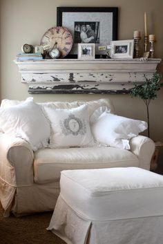 Cozy Linen Slipcover Loveseat with Overstuffed Pillows