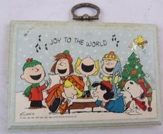 Vintage 1960s 1966 Peanuts Charlie Brown Christmas Wall Plaque.