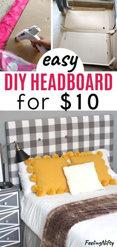 Learn how to make an easy DIY upholstered headboard(tufted and padded) that'. - Ikea DIY - The best IKEA hacks all in one place Cardboard Headboard, Cheap Diy Headboard, How To Make Headboard, Headboard Ideas, Diy Full Size Headboard, No Headboard, Diy Upholstered Headboard, Diy Fabric Headboard, Homemade Headboards
