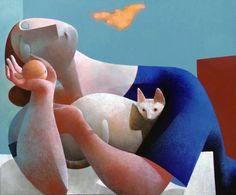 Cats in Art and Illustration: Peter Harskamp Crazy Cat Lady, Crazy Cats, Illustrations, Illustration Art, Art Mignon, Son Chat, Art Walk, Paul Klee, Dutch Artists