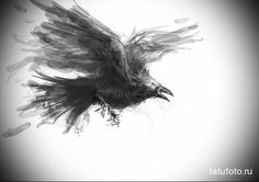 эскиз черный ворон тату 3