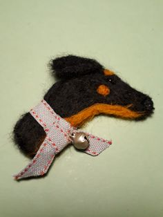 the latest addition to my #etsy shop: Doberman wool felt brooch https://etsy.me/2H2za5E #jewellery #brooch #black #cotton #yes #unisexkids #brown #animals #birthday