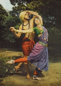 "Ruth St-Denis and Ted Shawn (Founder of Jacob's Pillow Dance Festival)  The photograph was taken by Franklin Price Knott in 1916. He is one of the first to have a colour image  appear in National Geographic Magazine. Ruth St-Denis and her partner and husband Ted Shawn, modern dance pioneers, were best known for the ""oriental"" productions."
