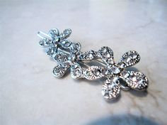 Small silver crystal flower hair clip by LindasAccessories on Etsy