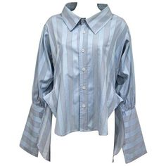 Preowned Worlds End By Vivienne Westwood And Malcolm Mclaren Oversized... (517.105 RUB) ❤ liked on Polyvore featuring tops, shirts, blue, me, grey, short shirts, striped shirt, grey shirt, long blue shirt and oversized striped shirt