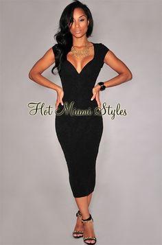 Black Shimmer Plunging V Neck Midi Dress