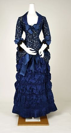 1880 blue evening dress.