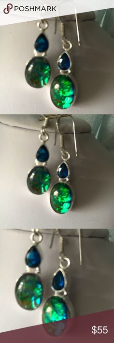"""Australian Opal Triplet Sapphire Silver Earrings Australian Fire opal triplet and sapphire earrings. Set in silver plated alloy. 1 7/8"""" long including French ear hook. Exact match to my opal triplet me lace in color and shapes. Would make a great bundle. Just lovely! Jewelry Earrings"""