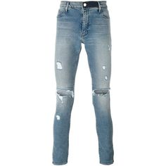 Rta distressed skinny jeans (9,185 DOP) ❤ liked on Polyvore featuring men's fashion, men's clothing, men's jeans, blue, mens ripped skinny jeans, mens blue jeans, mens distressed jeans, mens ripped jeans and mens torn jeans