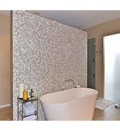 Love the tile wall -althought I wish it were an old fashioned tub