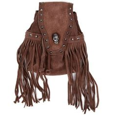 Brown Leather Studded Skull Cross Body Punk Fashion Hobo Bag Purses