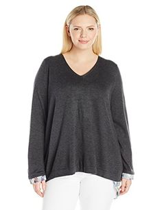 NYDJ Women s Plus Size Mixed Media V-Neck Sweater with Overlapped Back at Amazon  Women s Clothing store  9e71b5b5e