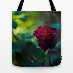 Single Red Rose Tote Bag by Light Wanderer - $22.00