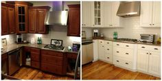 Furniture, Small Kitchen Design Before And Remodel With Hardwood Floor Tiles And Painted Oak Kitchen Cabinet With White Chalk Color Plus Marble Countertop And Exposed Brick Wall Backsplash Ideas ~ Painted Kitchen Cabinets