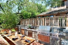 Rustic outdoor kitchens outdoor patio and backyard medium size minimalist wood patio covered kitchens rustic outdoor Rustic Outdoor Kitchens, Outdoor Kitchen Countertops, Outdoor Kitchen Design, Backyard Kitchen, Outdoor Cooking Area, Outdoor Dining, Outdoor Decor, Dining Table, Built In Grill