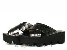 """Серебристые кожаные сабо на тракторной подошве: продажа, цена в Запорожье. босоножки и сабо женские от """"HappyShoes"""" - 265704256"""