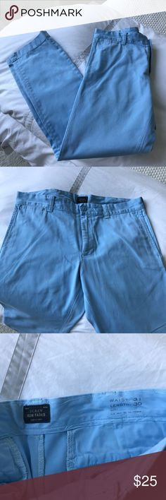 "J.crew men's cornflower blue ""sun faded"" pants J.crew men's blue ""sun faded"" pants. Lightly worn thus the low price but no ""flaws"" waist 31 length 30 J. Crew Pants Chinos & Khakis"
