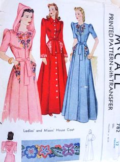 GORGEOUS House Coat Robe Hostess Gown McCALL 782 Three Glamorous Styles Includes Hooded Version + Embroidery Transfer Bust 30 Vintage Sewing Pattern-Authentic vintage sewing patterns: This is a fabulous original dress making pattern, not a copy Motif Vintage, Vintage Dress Patterns, Vintage Mode, Clothing Patterns, Vintage Outfits, 1940s Outfits, Vintage Dresses, 1940s Fashion, Vintage Fashion