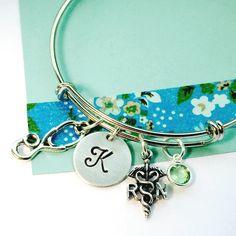 Nurse Bracelet, Registered Nurse Bracelet, Silver Nurse Bangle, Personalized Bracelet, Nursing School Graduate, Nurse Gift, RN Bangle