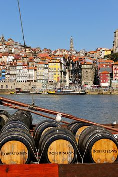 Porto, capital of the Port wine, and the Ribeira district, UNESCO World Heritage Site. In the foreground the Rabelos boats