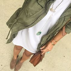white short dress, olive green army jacket, taupe booties