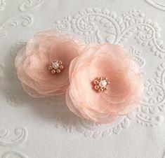 peach shoe clips bridal hair clip sew on ornaments pins bridesmaid accessories grips Wedding flowers Peach mint fabric hair flowers