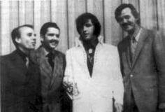 James Blackwood, Hovie Lister,Elvis Presley, and J.D. Sumner backstage