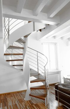 Helical Spiral staircase by SANDRINI SCALE #interior #stair #white