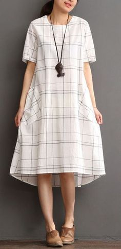 White cotton dress plaid sundress plus size summer maxi dress Trend 2019 Plus Size Sundress, Plus Size Maxi Dresses, White Maxi Dresses, Trendy Dresses, Simple Dresses, Plus Size Outfits, Nice Dresses, Casual Dresses, Fashion Dresses