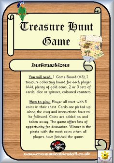 Fun, Printable Treasure Hunt Game - Hunt for the Pirate Treasure Arrrrrgh Matey!